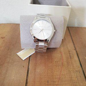 Michael Kors Slim Runway Silver Watch with Box